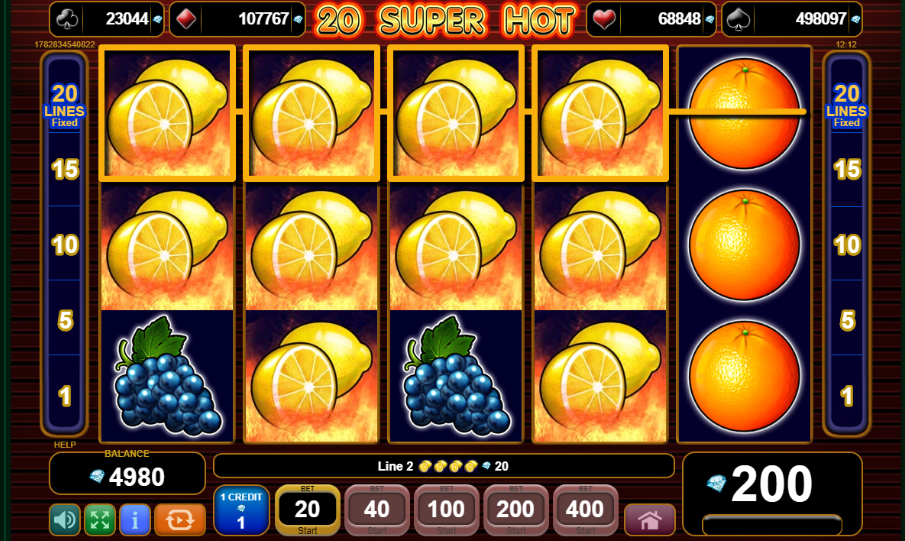 20 Super Hot grafički interfejs slot igre