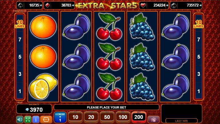 Extra Stars grafički interfejs slot igre
