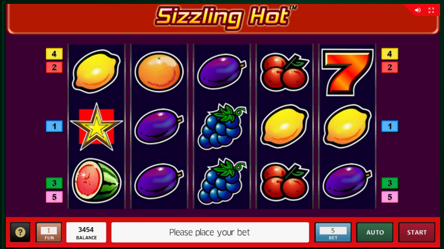 Sizzling Hot grafički interfejs slot igre