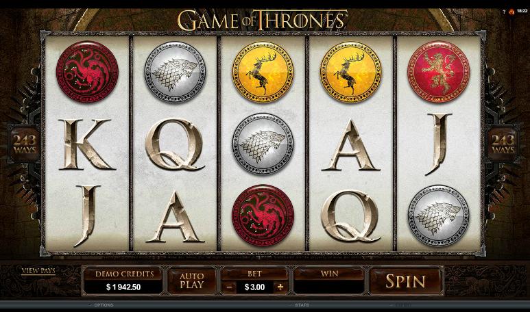 Game of Thrones - grafički interfejs slot igre