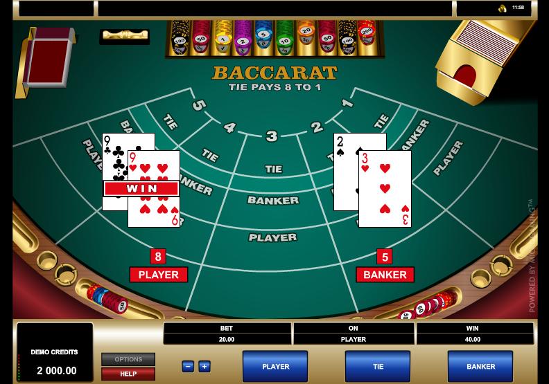 Baccarat - grafički interfejs igre by Microgaming