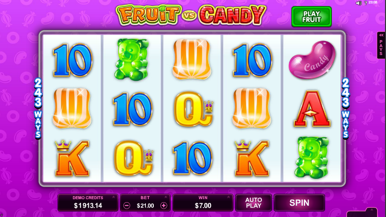 Fruit vs Candy - grafički interfejs video slot igre
