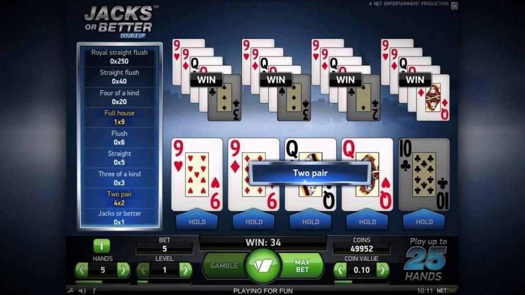 Video poker - prikaz grafičkog intefjesa