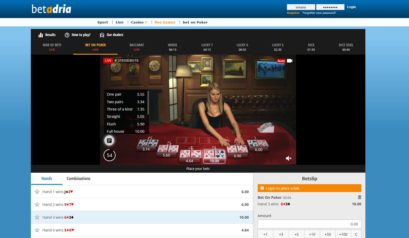 Betadria - kazino uživo